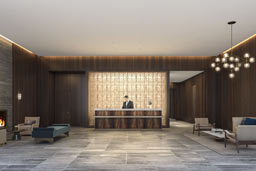 lobby with a man behind the counter